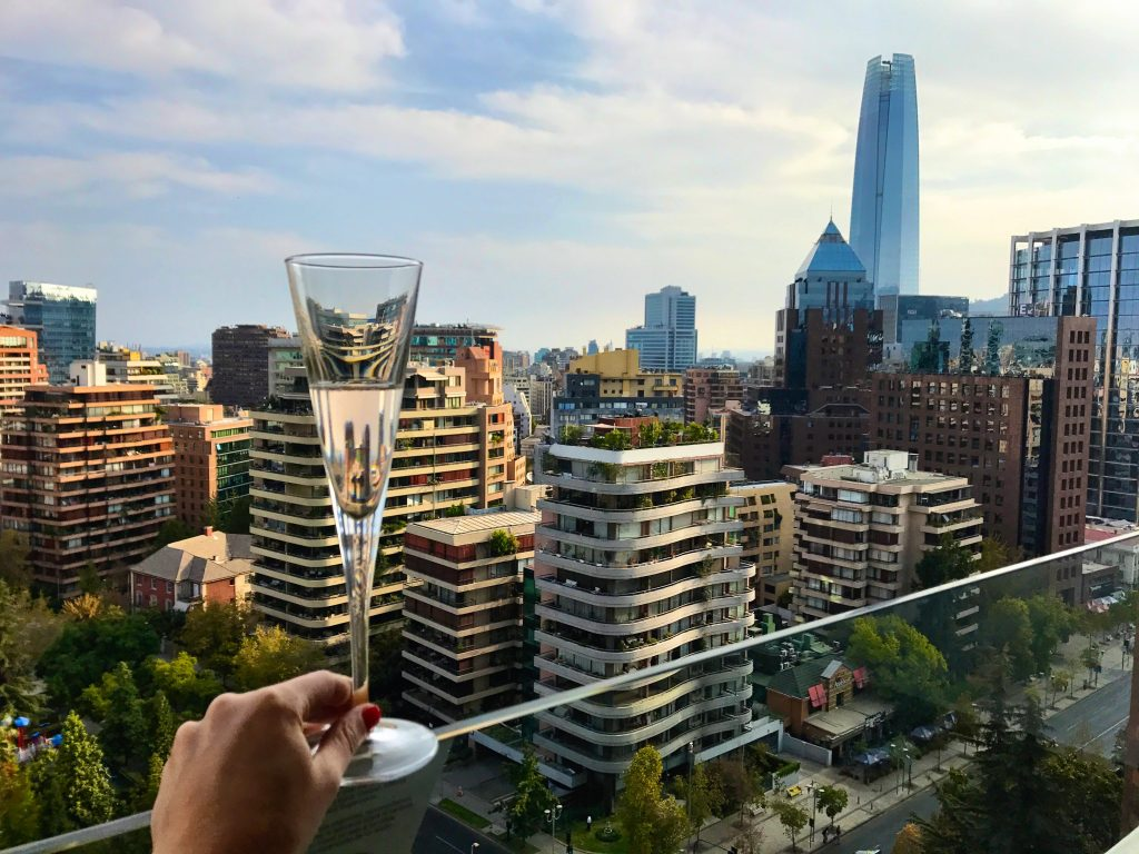 Champagne and view from W Santiago